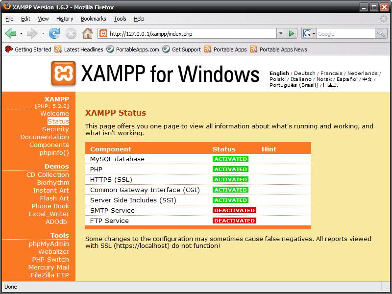 Xampp ekran görüntüsü